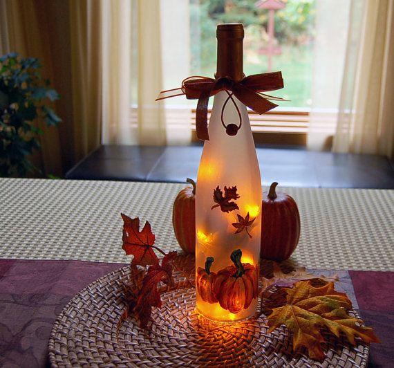 Thanksgiving Decoration, Wine Bottle Light, Autumn Leaves