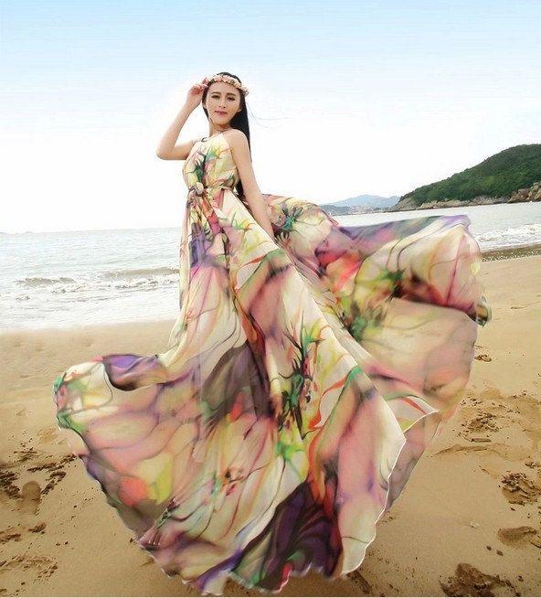 Medeshe Floral Printed Lightweight Chiffon Maxi Dress Holiday Beach Sundress