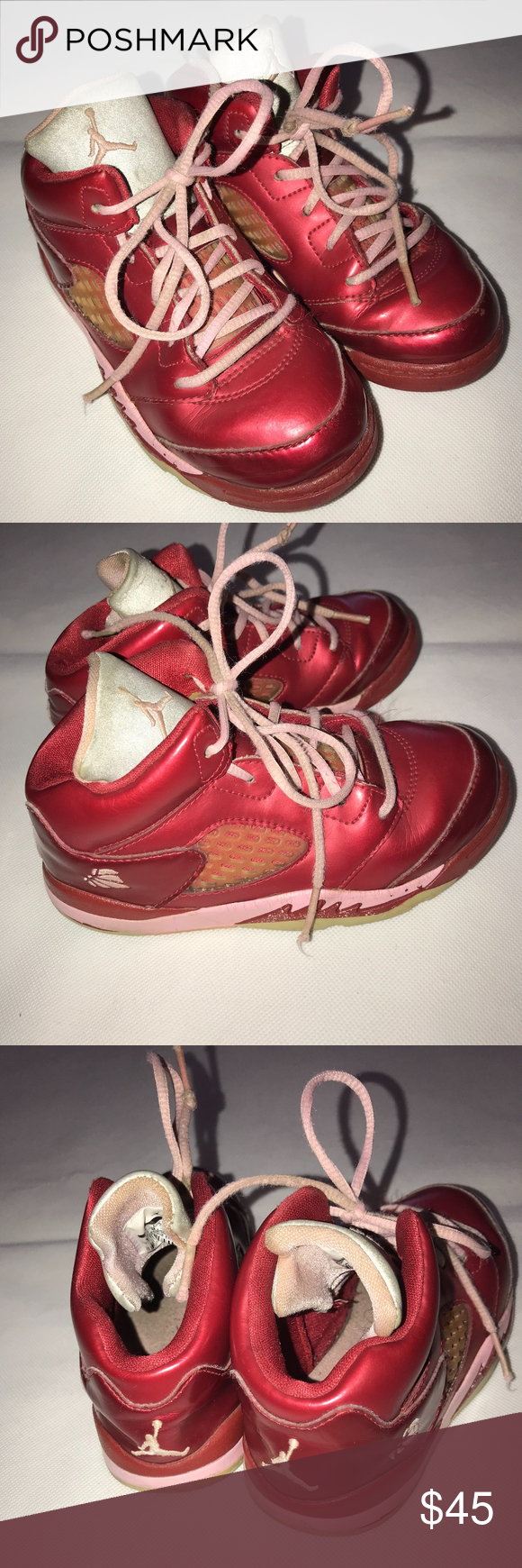 best service 79b53 020c0 Valentine s Day JORDAN High Top Sneakers Vintage Size 10 US (approx age 4 5)  girls (Toddler Young Girl) sneakers, vintage very hard to find, ...