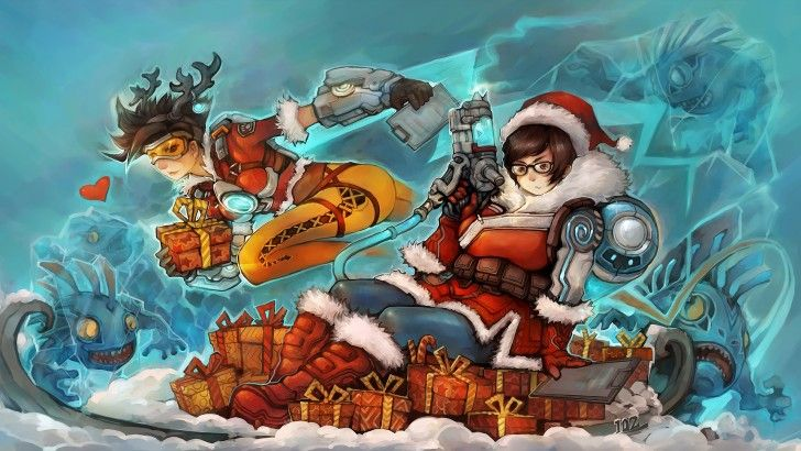 Tracer and Mei Christmas Gifts Holiday Overwatch Girls Art ...