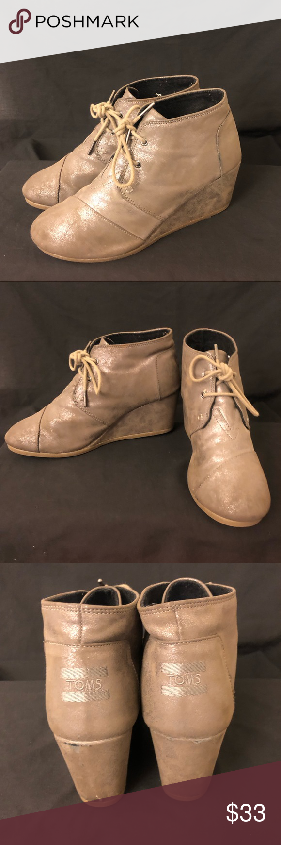 Toms Wedge booties Super cute and comfortable Toms wedge booties. Tan with sparkling accent.  Slightly worn see pics for wear  Great for fall!! Toms Shoes Ankle Boots & Booties #tomwedges Toms Wedge booties Super cute and comfortable Toms wedge booties. Tan with sparkling accent.  Slightly worn see pics for wear  Great for fall!! Toms Shoes Ankle Boots & Booties #tomwedges