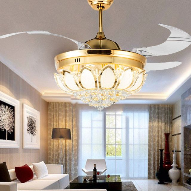 Esszimmerleuchten Modern Modern Ceiling Fan Crystal Light Luxury Folding Ceiling ...