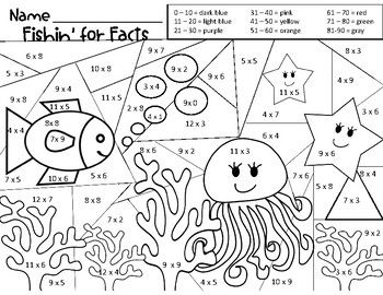 Forest Fun Multiplication Mosaics! 8 Pages of Fun! Color