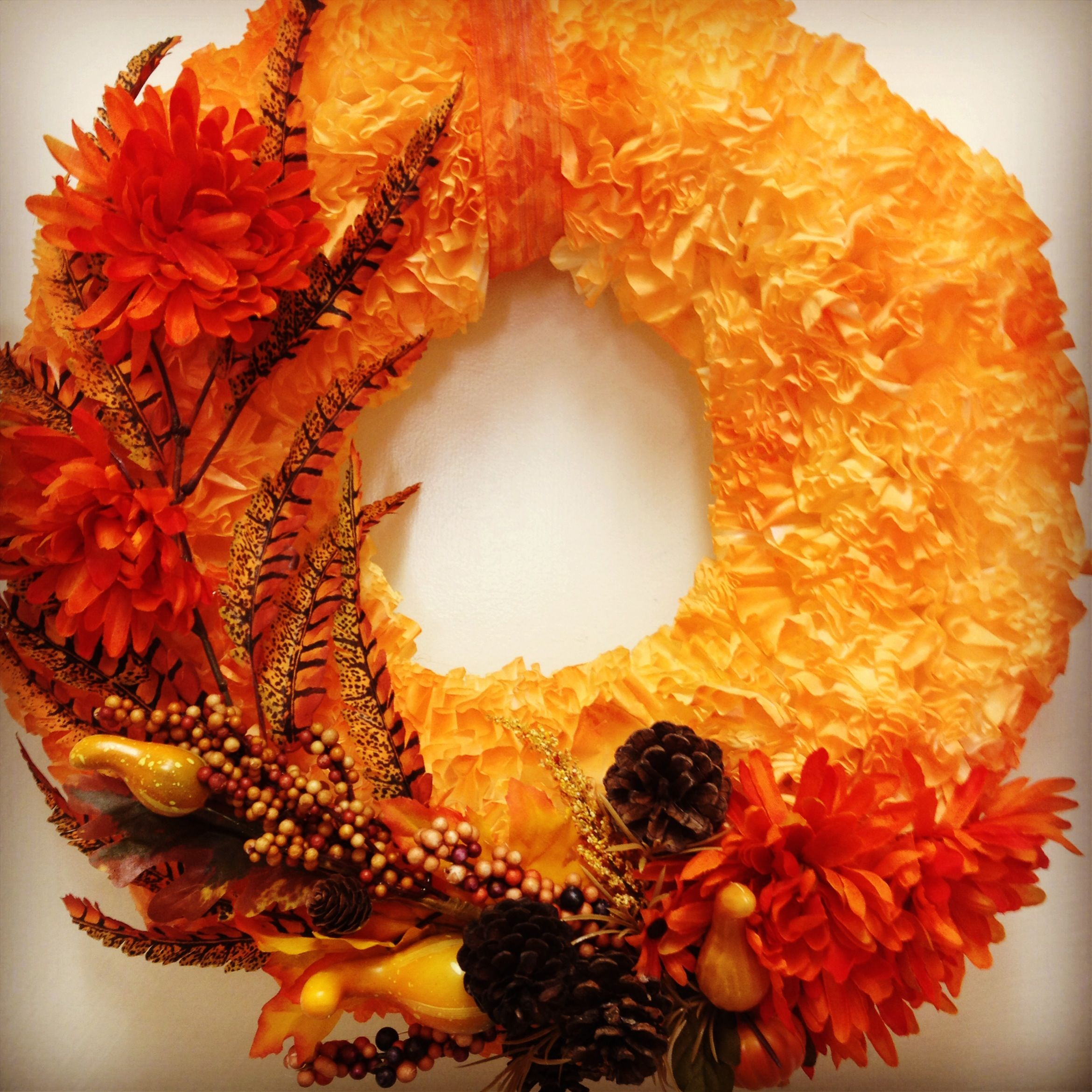 Autumn wreath. Made with a styrofoam circle and coffee