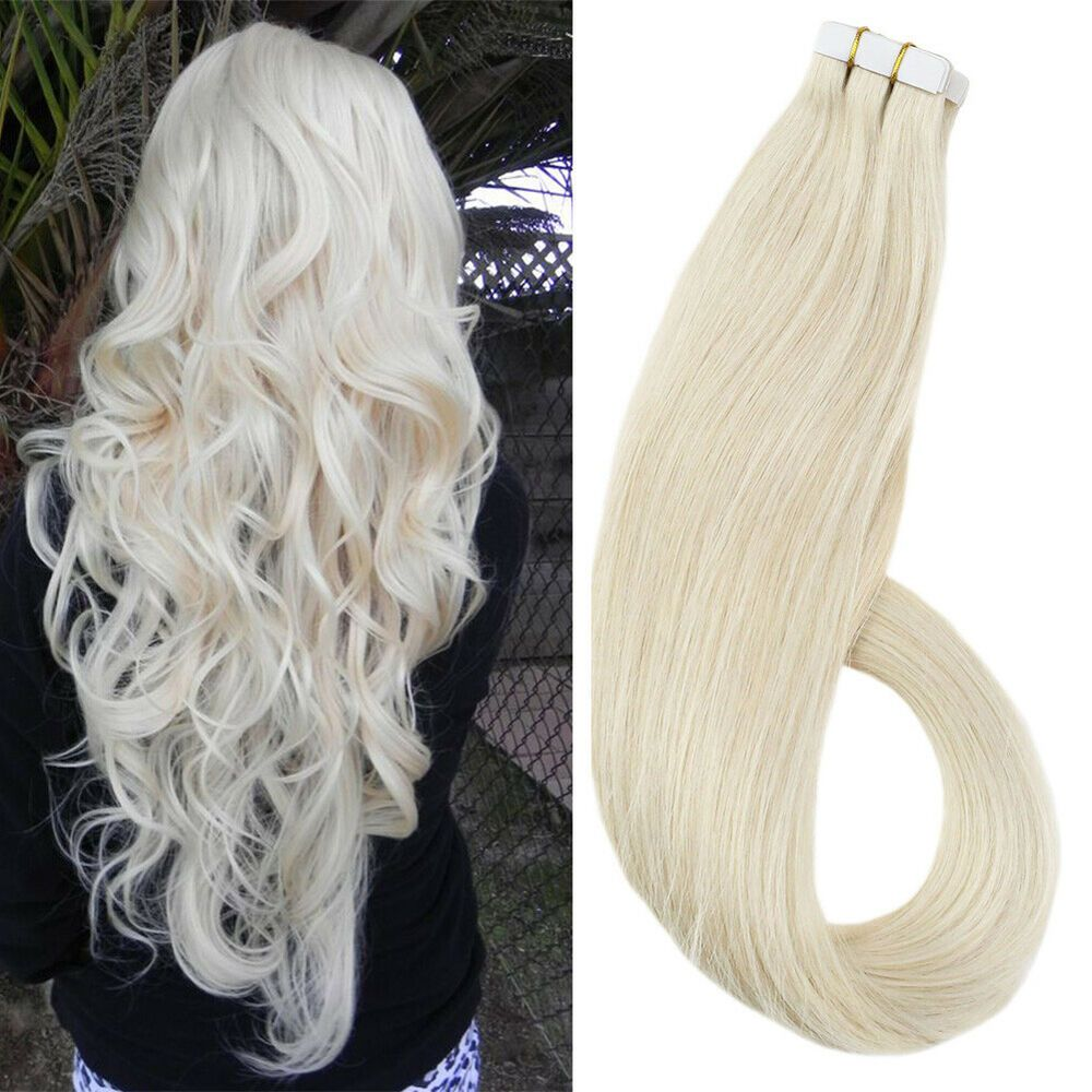 Ugeat 20pcs 60 Platinum Blonde Double Sided Tape In Human Hair