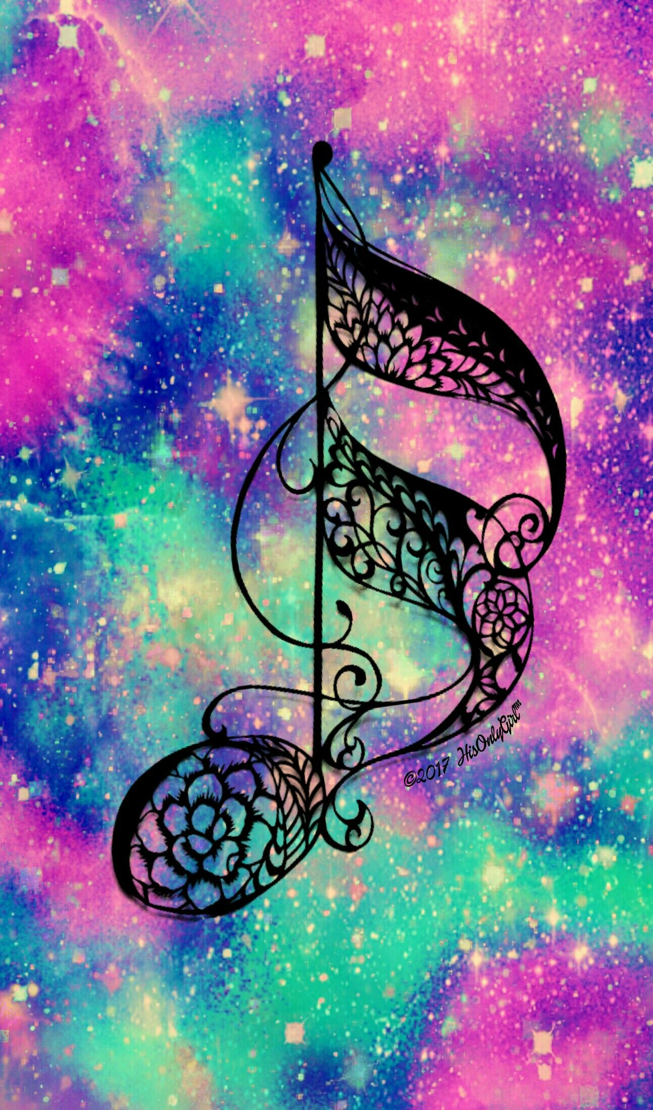music note galaxy wallpaper i created for the app cocoppa