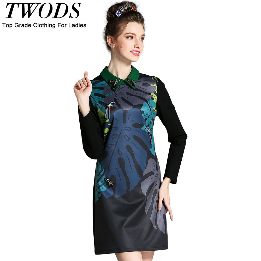 Twods l xl women autumn casual dress collared plus size slim short