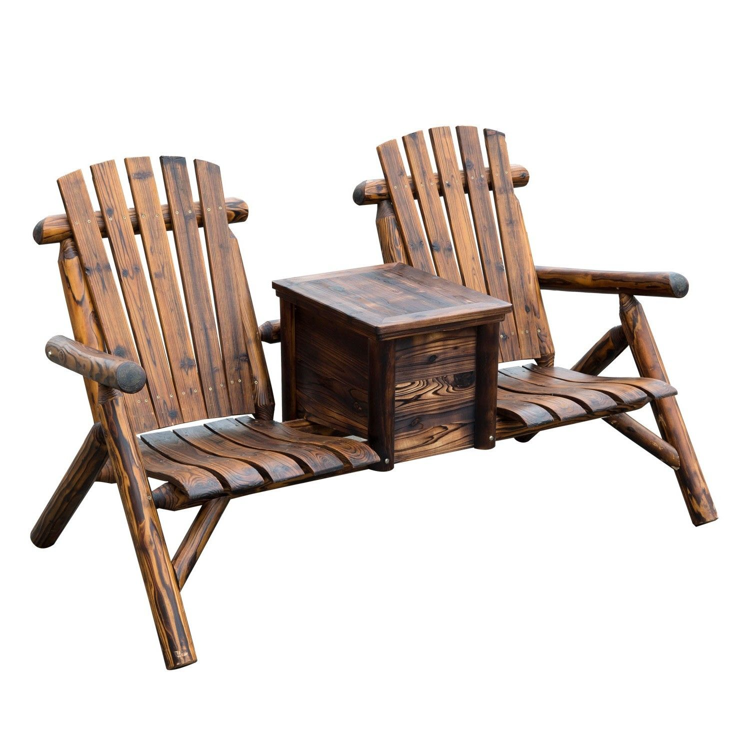 Outsunny Wooden Double Adirondack Chair Loveseat With Ice