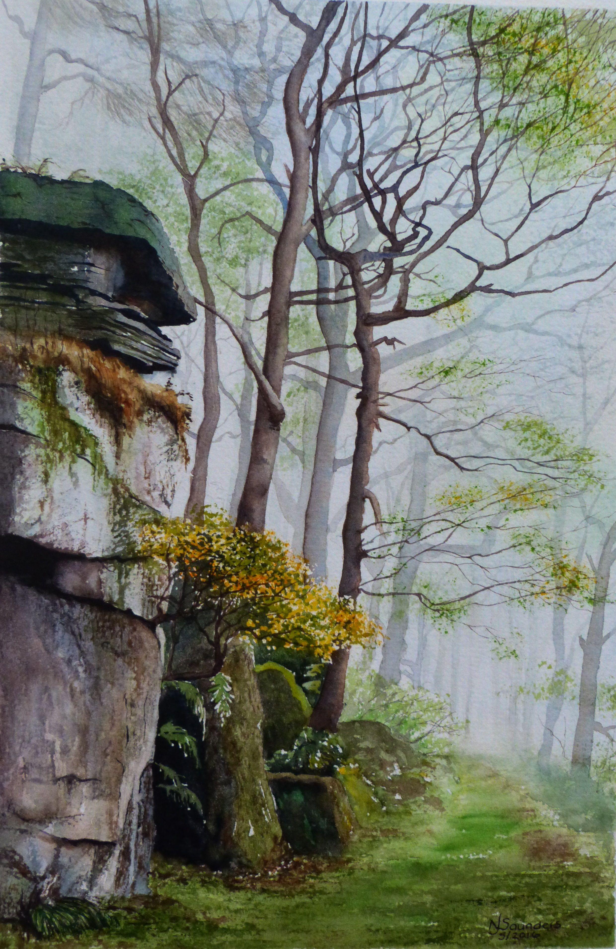 Padley Gorge, Peak District - Watercolour by Nicki Saunders
