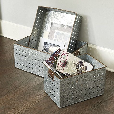 Merveilleux Load Up On Vintage Industrial Style And Organization With Our Versatile Galvanized  Storage Bins. Inspired By Our Popular Galvanized Boot Tray, These Sturdy ...
