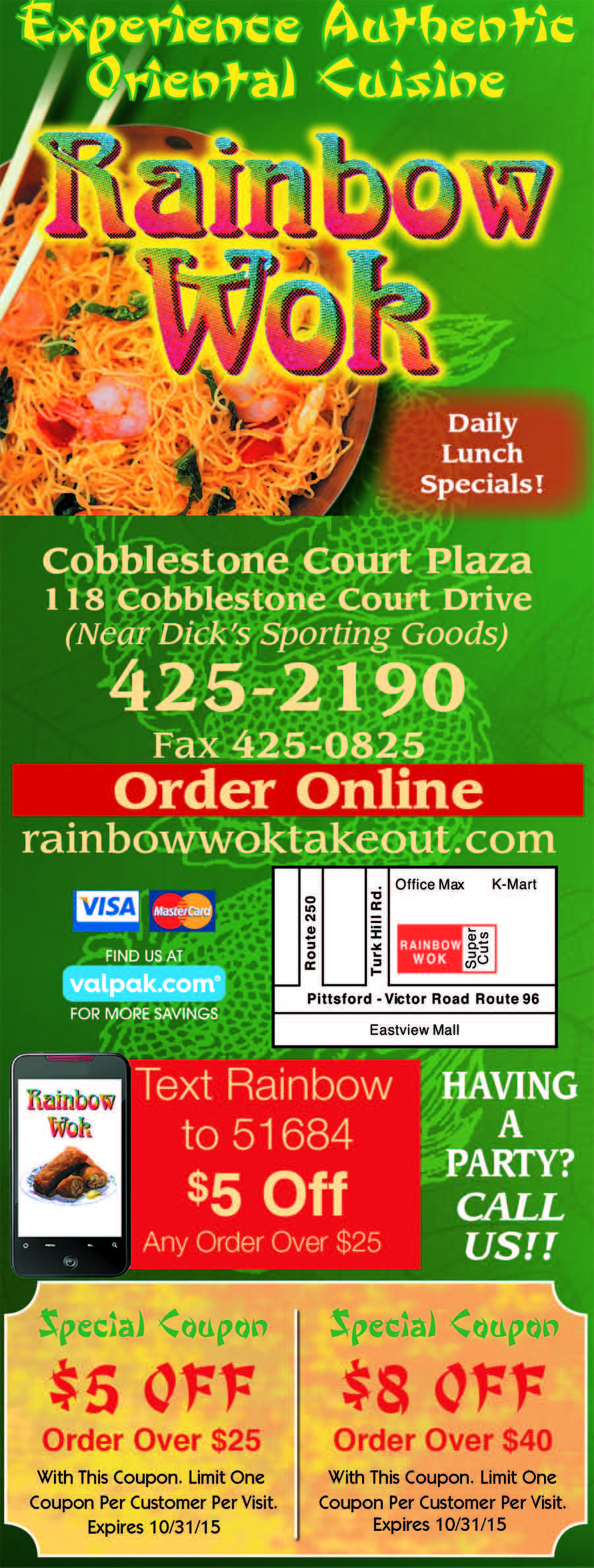 Coupons for specials with the rainbow wok get your sweet