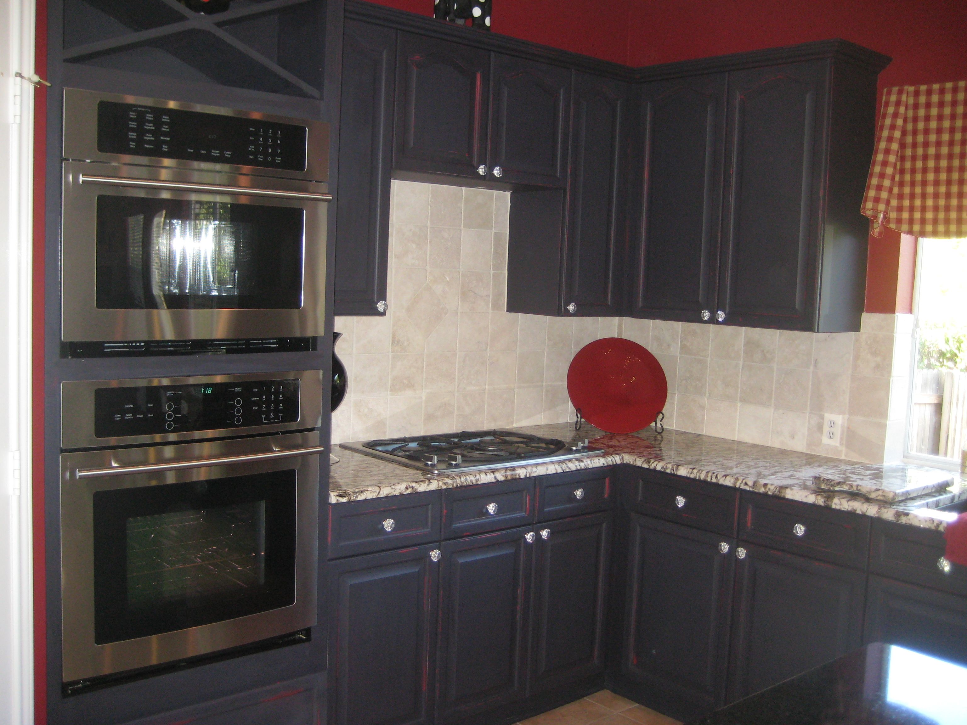 Faux Finished Kitchen Cabinets - Distressed Red & Black ...