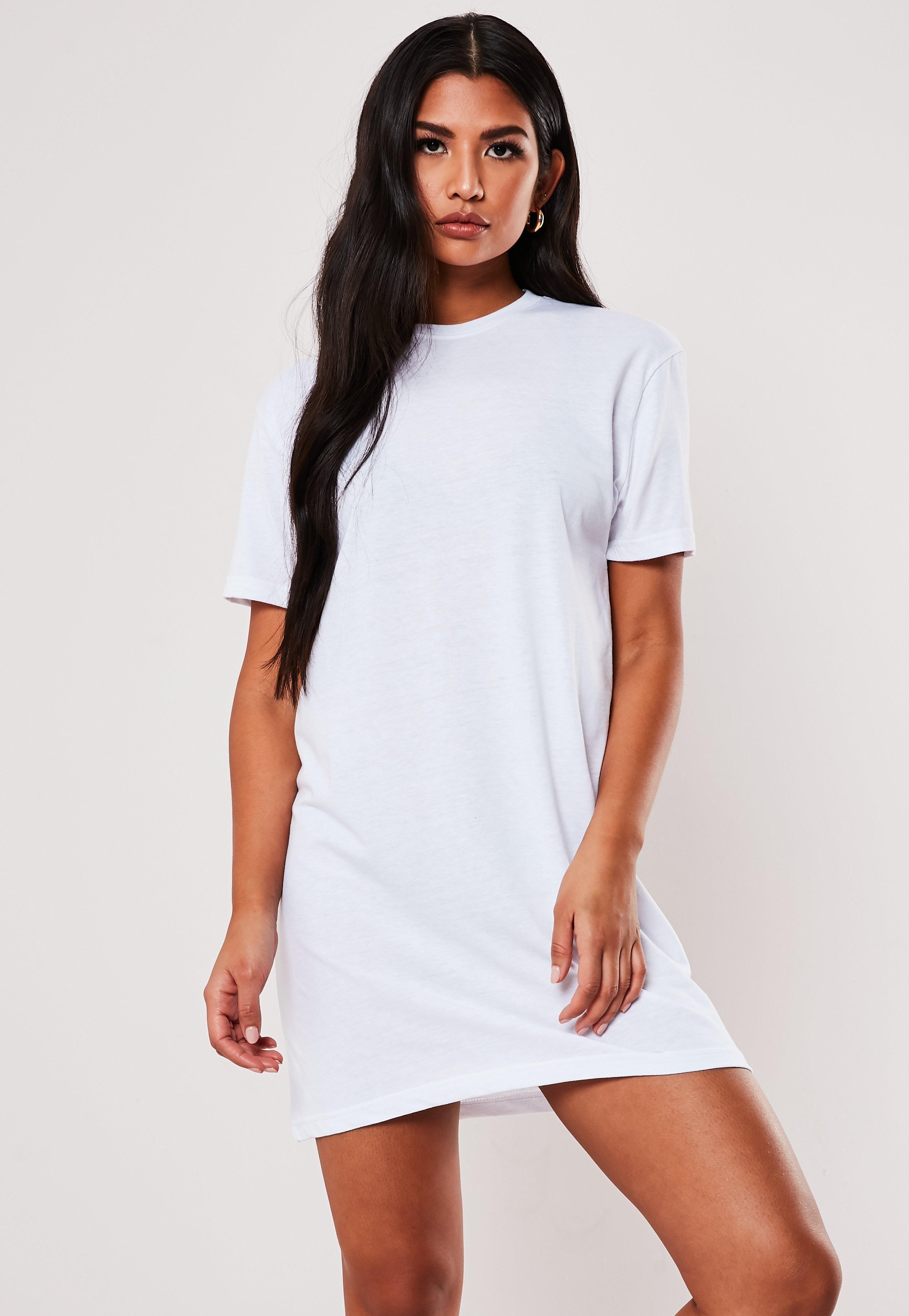 Missguided Tall White Basic T Shirt Dress T Shirt Dress Shirt Dress Black And White Long Dresses [ 4200 x 2900 Pixel ]
