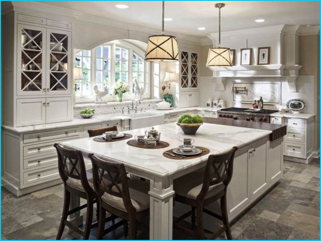 Kitchen:Modern White Countertop Kitchen Island With Seating ...