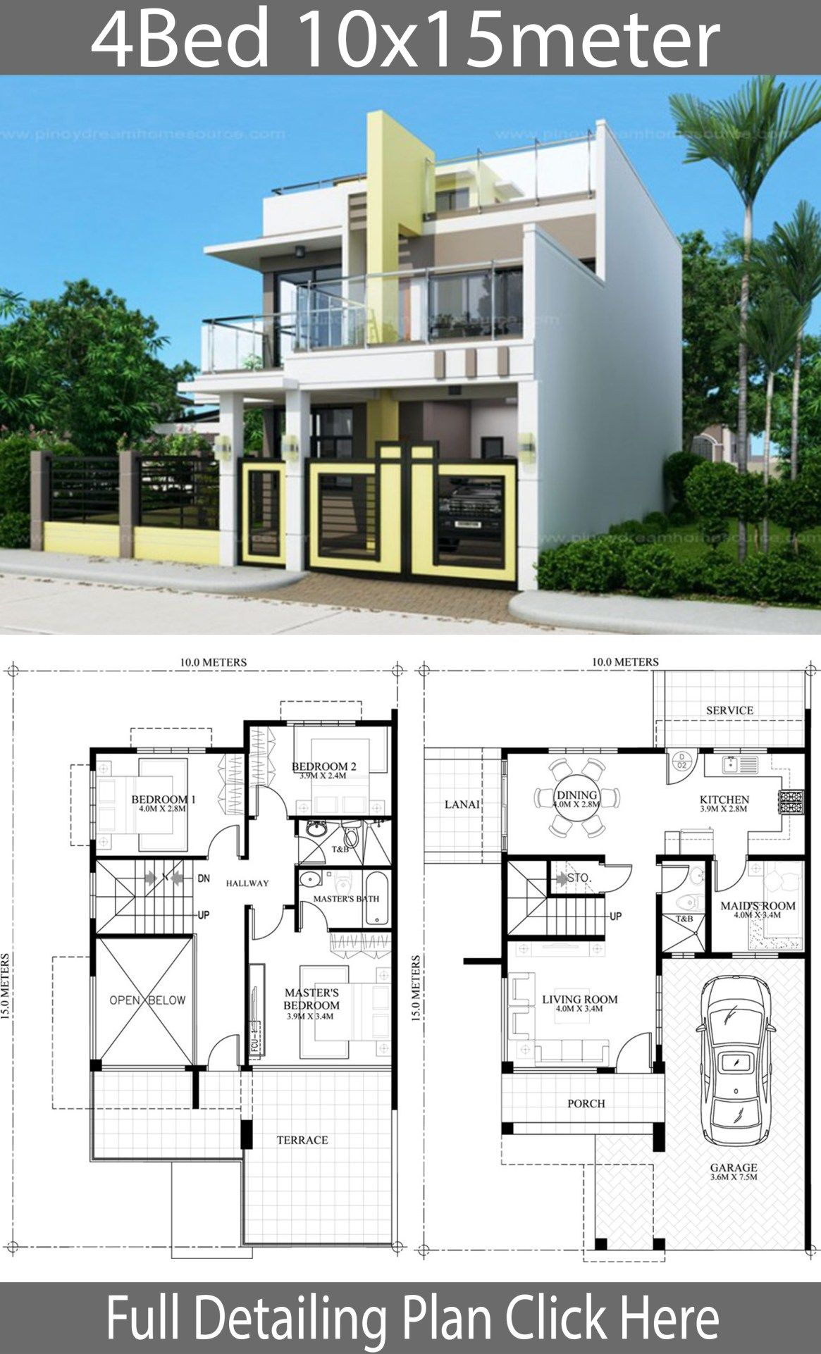 Home Design Plan 10x15m With 4 Bedrooms Home Design With Plansearch Home Design Plan Modern House Plans Model House Plan