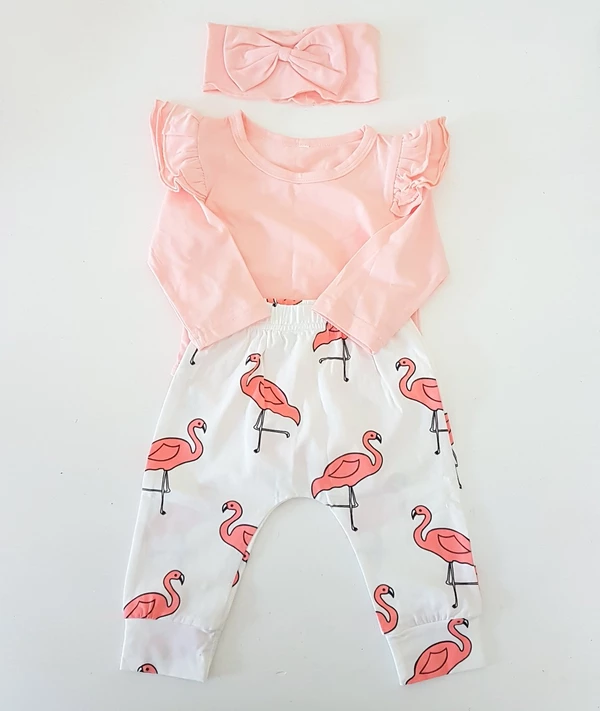 Photo of Pink Flamingo Baby Girl Outfit ( 2-6 m) romper leggings headband