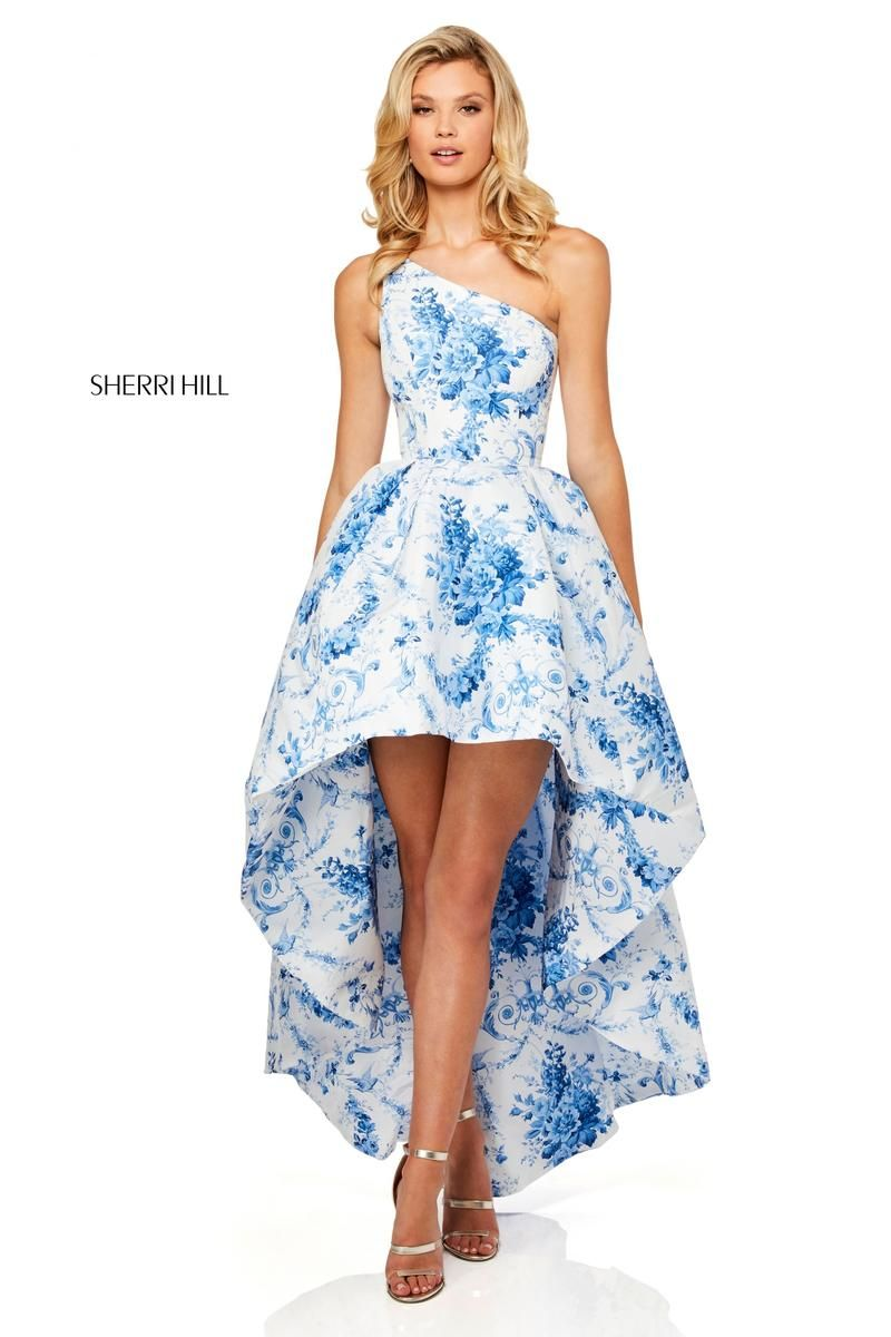 Sherri Hill 51684 Sheer Floral High Low Prom Dress: French