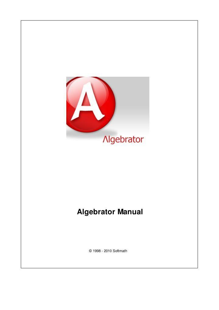 DoYourMath.com Algebrator Manual For Your Algebra Problem Solver ...