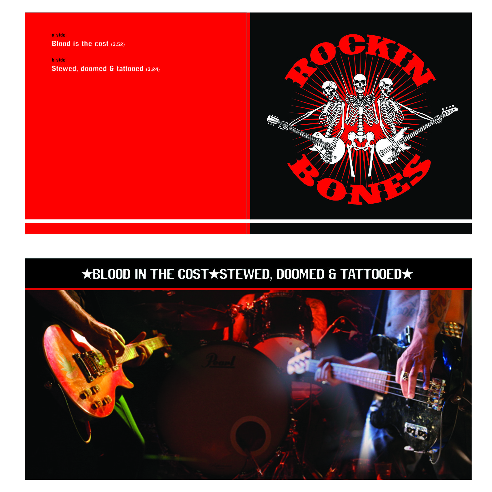 The Rockin Bones 7'' single Stewed Doomed 'n' Tattooed
