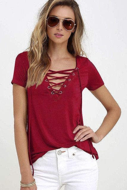 6382ecd5e72 ... T Shirt Casual Loose Simple O Neck White Top Tees Blusas. Country Girl  Lace Up V-Neck Shirt