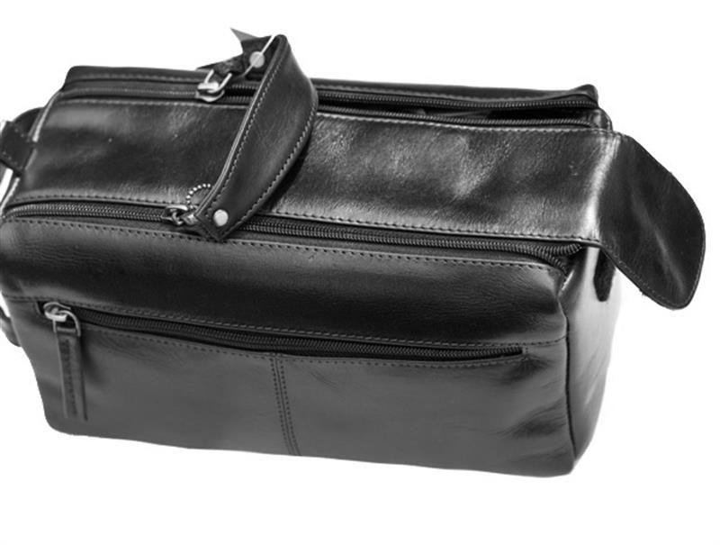 Prime Hide Mens' Black Leather Wash Bag