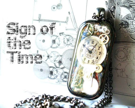Sign of the time watch face and gears resin pendant rectangular sign of the time watch face and gears resin pendant rectangular pendant steampunk inspiration resin jewelry aloadofball Gallery