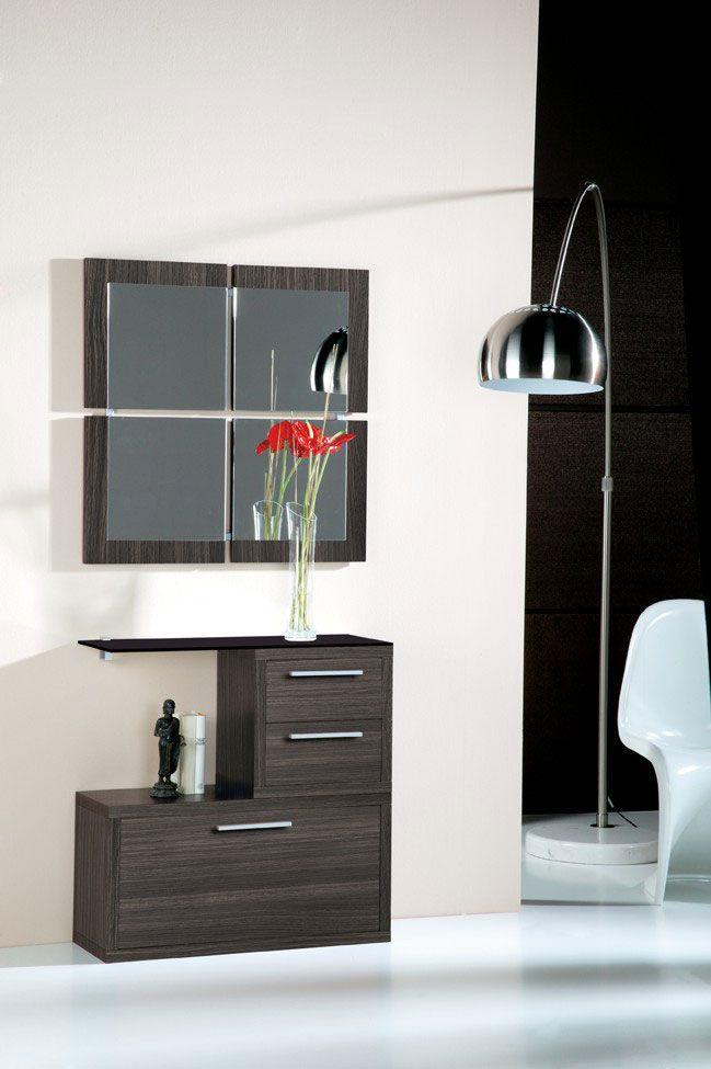Meuble d 39 entr e avec miroir contemporain magritte coloris c dre gris meubles d 39 entr e design for Meuble design miroir