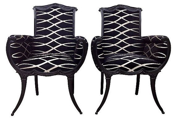 Vintage French Upholstered Painted Black Chairs by OrangeNolive