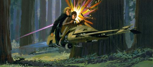 McQuarrie Monday - The contrast of laser fire against wood in this concept is striking.