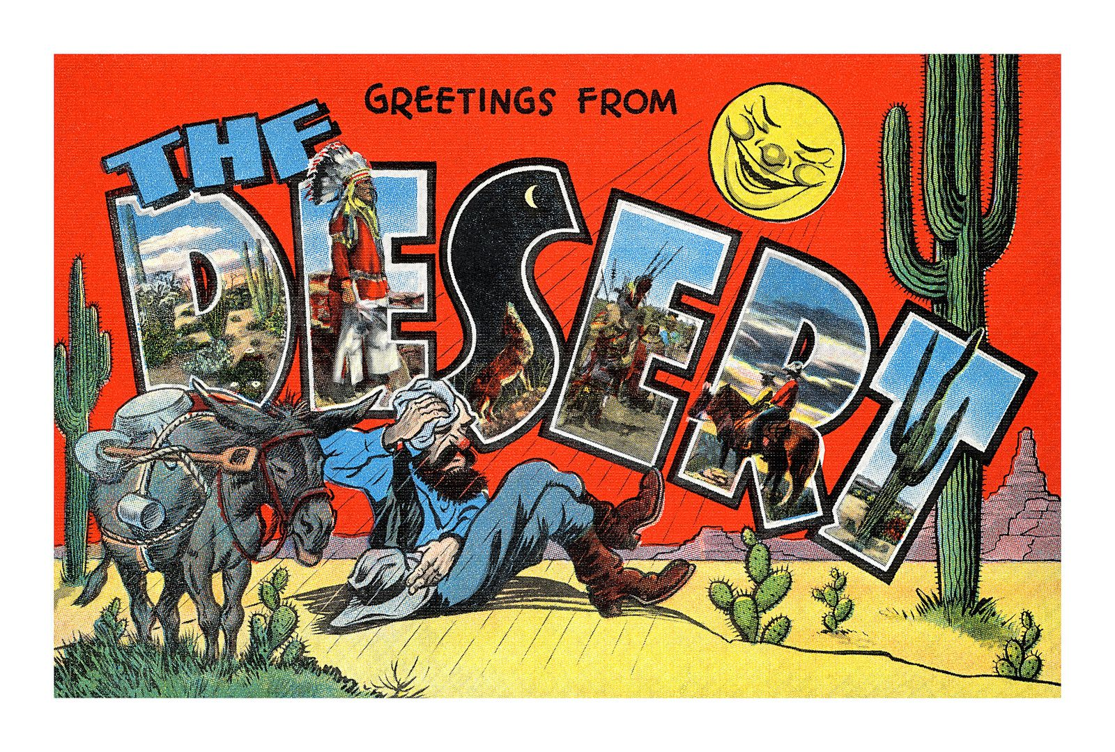 Greetings from The Moon Large Letter Humor Postcard
