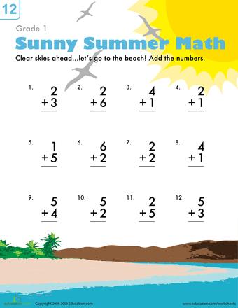 Addition Facts Beach Fun Worksheet Education Com First Grade Math Worksheets Summer Math Worksheets 1st Grade Math Worksheets