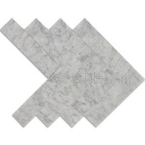 DEKO Tile - Italian Bianco Carrara Honed 2 x 8 Large Herringbone Mosaic Tile