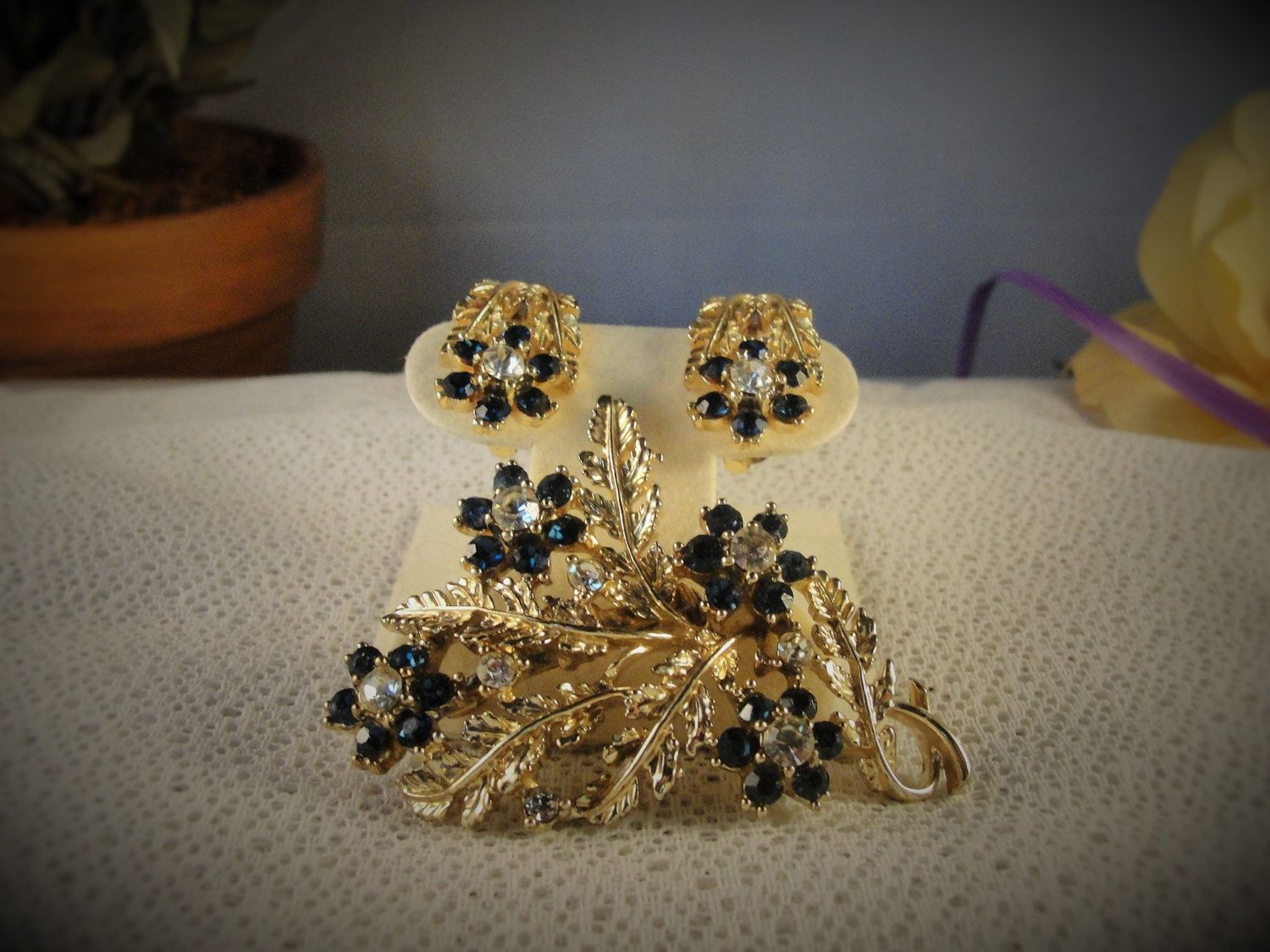 152094 Coro Katz Floral Brooch 48 and Earrings - Blue Sapphires Rhinestones and Clear Rhinestones on Leafy Gold tone by CarolsVintageJewelry on Etsy