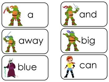 One set of themed Dolch Pre-Primer Sight Word Cards in a PDF