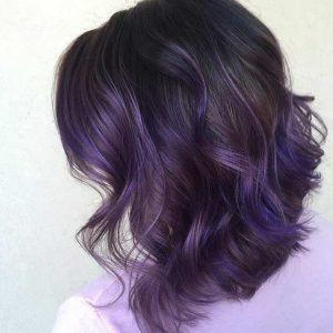 Bob Hairstyle With Dark Purple Highlights Violet Red Cherry Pink Bright Hair Colour Color Coloured Colored Fire Style Curls Haircut Lilac Lavender