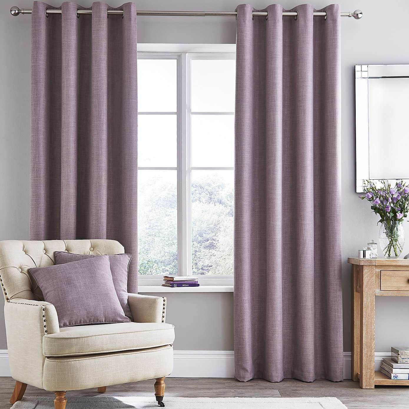 Vermont Mauve Lined Eyelet Curtains Dunelm Mauve Living Room