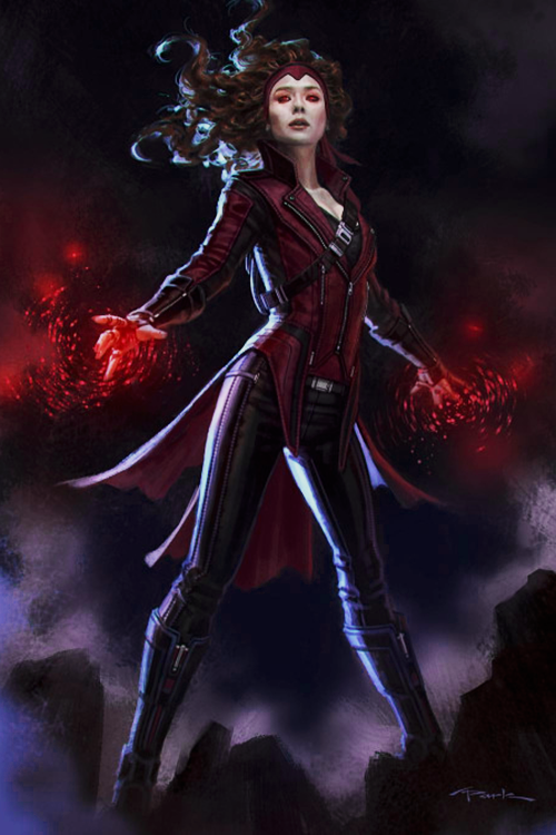 Concept Art By Andy Park Of Elizabeth Olsen As Wanda Maximoff Scarlet Witch For Captain America Ci Captain Marvel Costume Marvel Costumes Scarlet Witch Marvel
