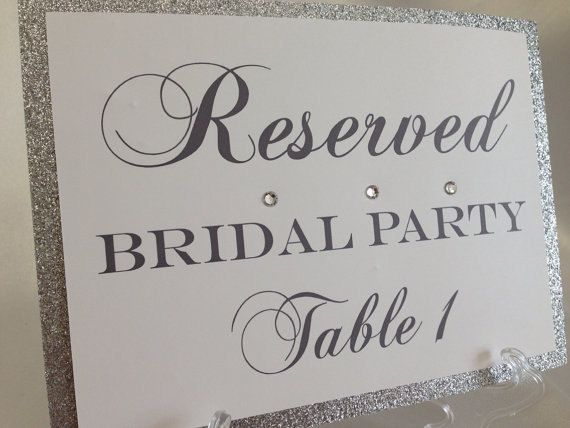 glitter wedding table size 5x7 reserved sign display by eldnyc