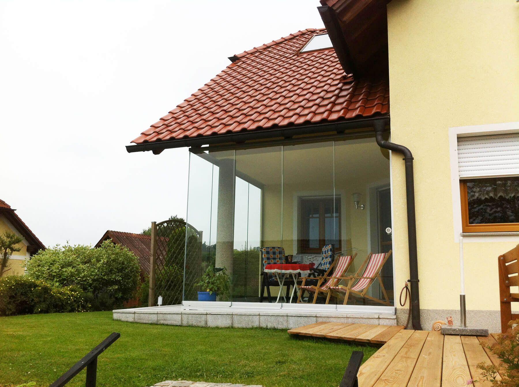 Berühmt Rahmenlose Verglasung Terrasse mit Schiebetüren aus Glas   Home &GG_33