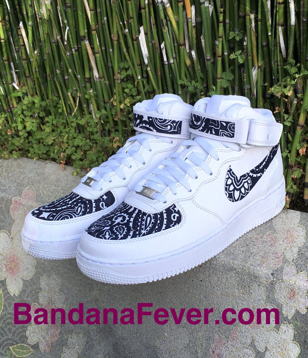 Navy Bandana Scarf Custom Nike Air Force 1 Mid Wht TC