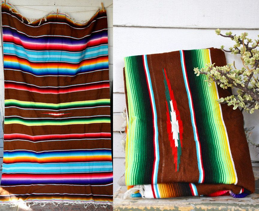 Superieur Mexican Saltillo Serape Blanket Bedding Home Decor Rug Wall Hanging Hand  Woven Fringed Chimayo Navajo Southwestern