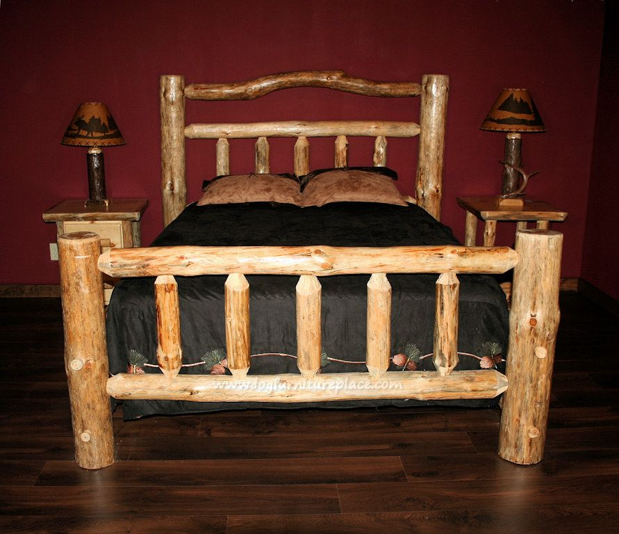 Pine Lake Deluxe Log Bed Log bed, Bed