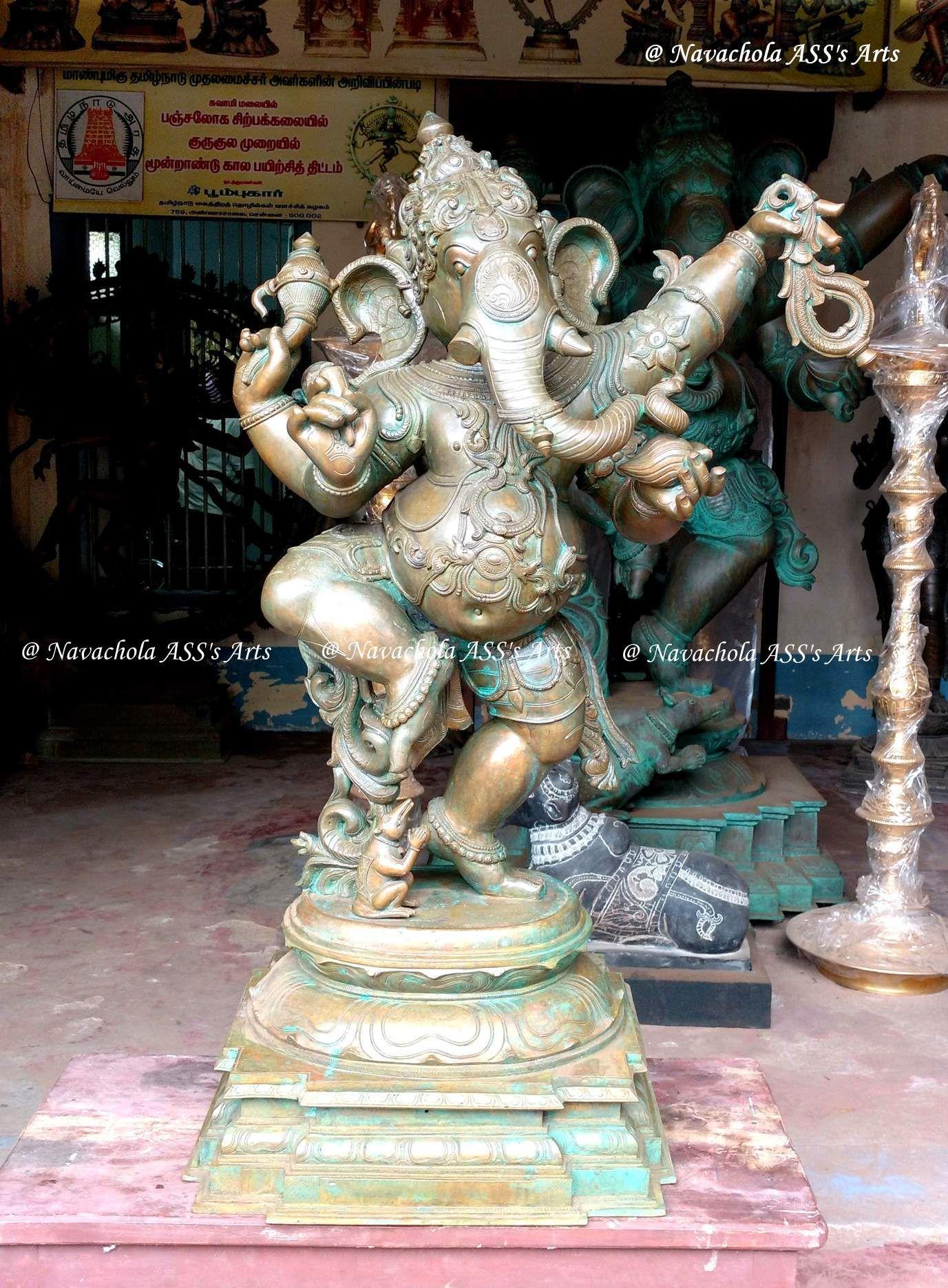 3 1/2 Feet Height Dancing Ganesha New Bronze Icon