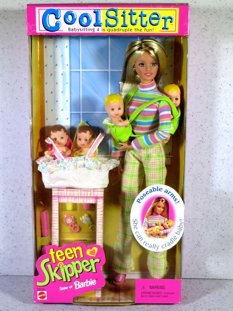 1998 Barbie Cool Sitter TEEN SKIPPER Doll with Poseable Arms - w 4 Babies Quadruple the Babysitting Fun by Mattel - Bassinet Baby Carrier
