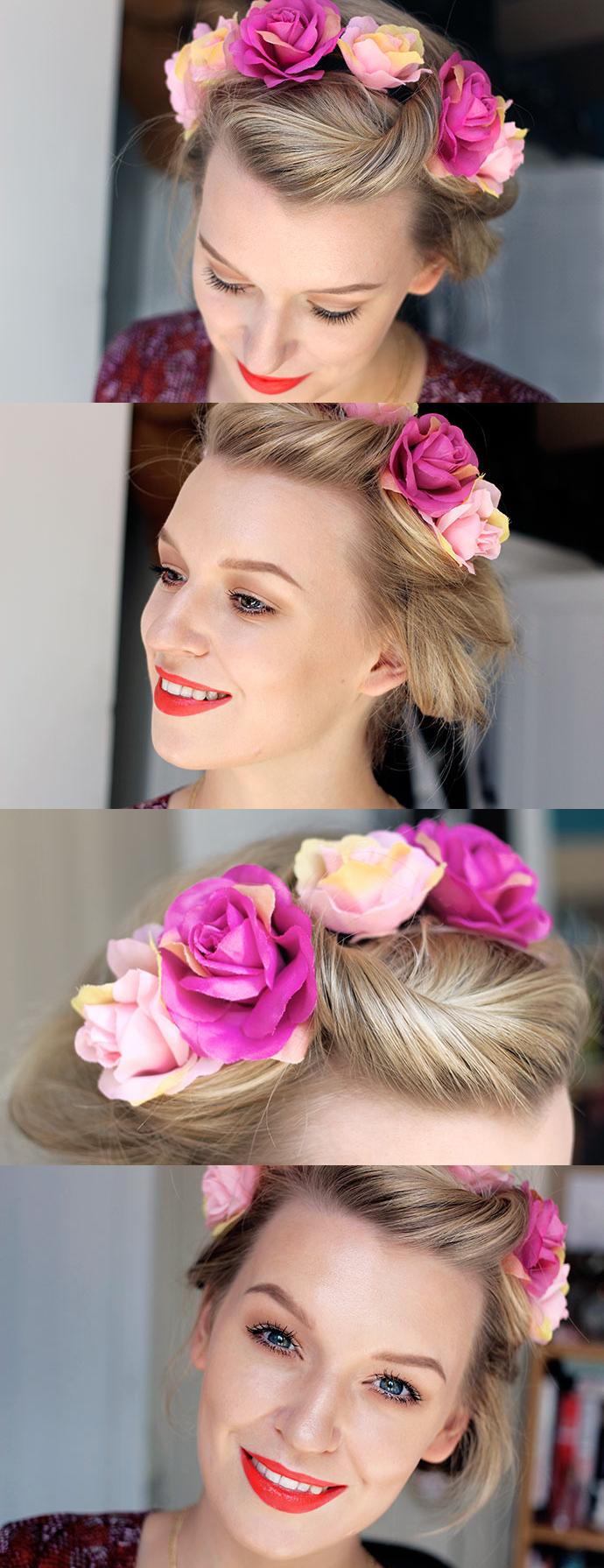 Summer Festival Fun with a Floral Headband on Short Blonde Hair.