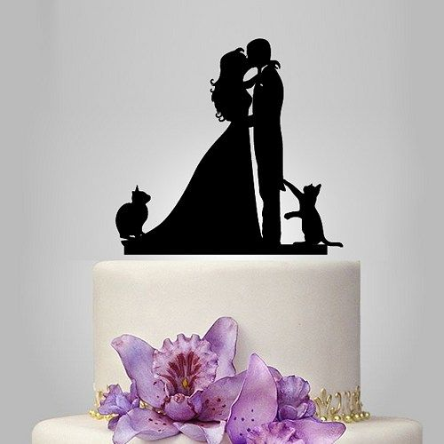 Silhouette Bride /& Groom Kissing Couple with Dog Wedding Acrylic Cake Topper