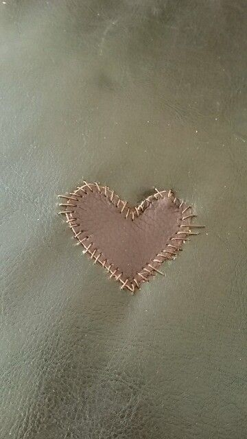 We Had A Hole In Our Sofa So I Patched It Up With A Leather Heart Patch Ember Patch Leather Couch Leather Couch Repair Leather Repair