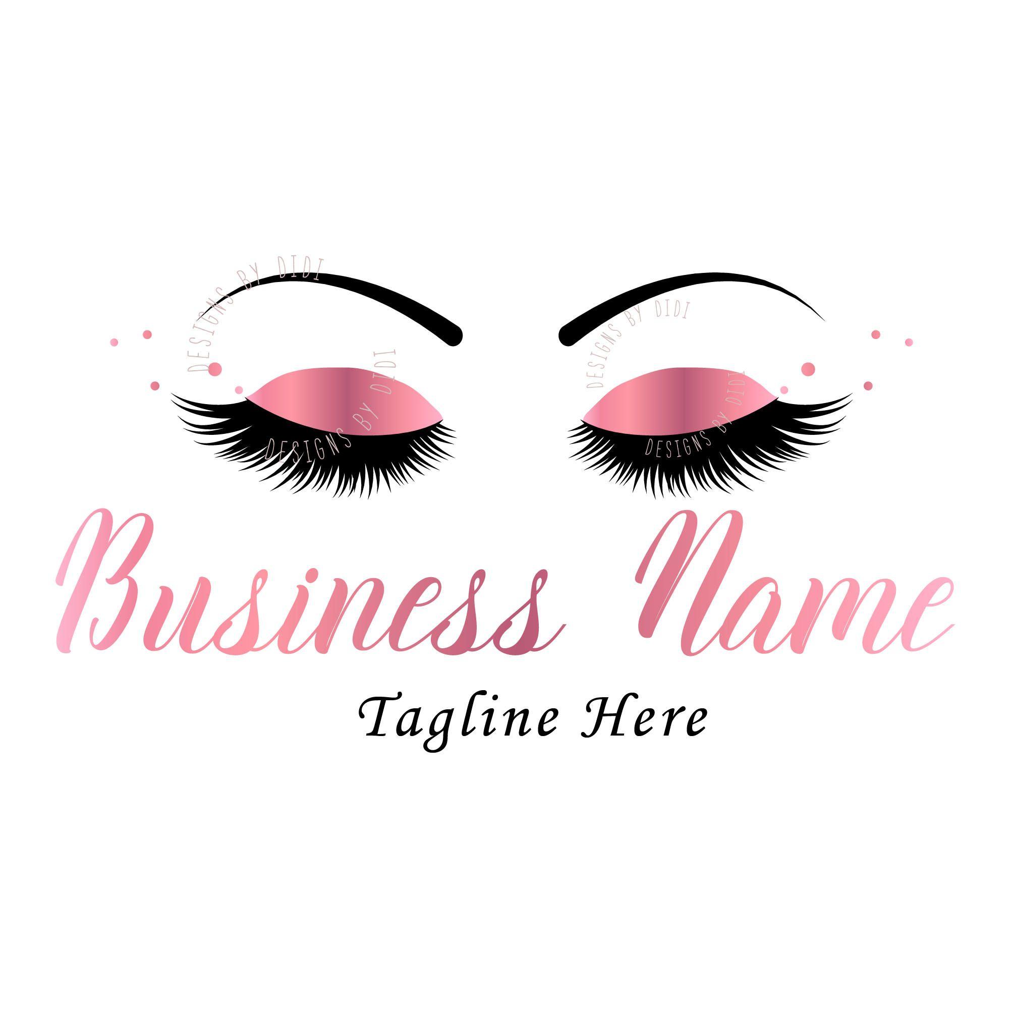 Lash Rose Gold Logo Design Pink Lash Watermark Pink Eyelash Logo