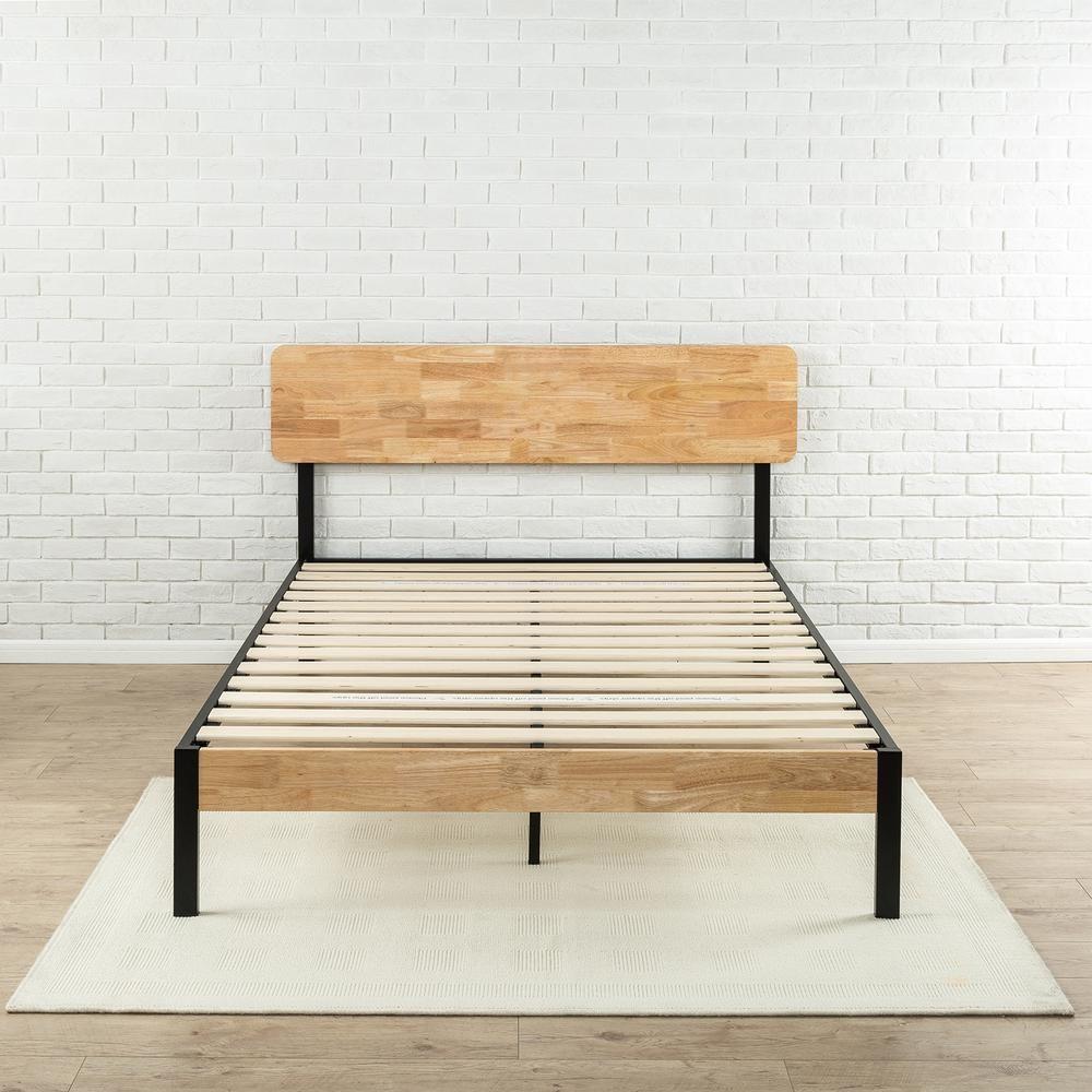 Zinus Olivia Metal And Wood Platform Bed Frame Queen Hd Hbpbb 14q Wood Platform Bed Frame Wood Platform Bed