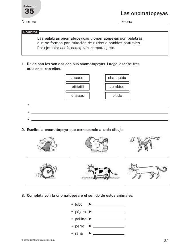 Resultado de imagen de ejercicios onomatopeyas 2 primaria pdf
